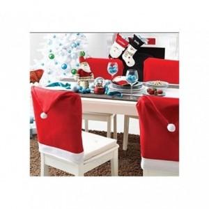 Kit 2 housses de chaise - chapeau de Noël Père Noël - 70 x 52 cm -
