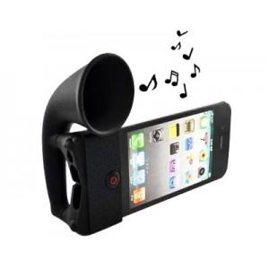 Haut Parleur pour iPhone 3G 3GS 4 4s en silicone noir en forme de corne