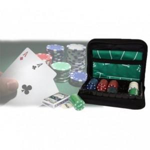Set de poker articulé pour voyager 150 jetons 1 jeu de cartes et le tapis SET CANINE