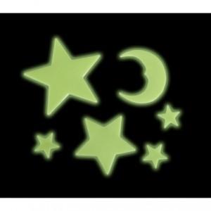 Pack de 24 pièces - étoiles, planètes et lune - adhésifs fluorescent - Decoration-