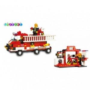 Jeu de construction - Pompiers - 190 piéces à assembler - 2 personnages avec le camion et la grande échelle - M38-B3000