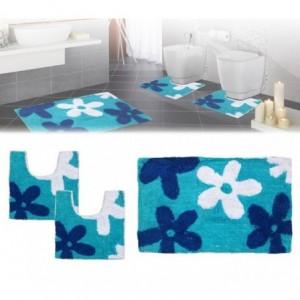 Ensemble de 3 pièces de tapis de bain avec motif floral - décoration et confort -