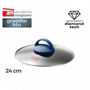 Couvercle en verre casserole / poéle - diamétre 24 cm - Accademia Mugnano Cuore di Pietra - GRANIT BLU