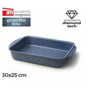 Plat á four - Moule antiadhésive de 30x25 cm effet pierre - Revêtement Diamond Tech - Accademia Mugnano - GRANIT BLU