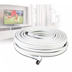 Câble coaxial - 30m - pour la connexion de l'antenne TV - (mâle et femelle)