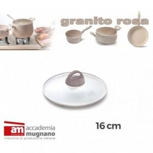 Couvercle en verre casserole / poéle - diamétre 16 cm - Accademia Mugnano Cuore di Pietra - GRANIT ROSA