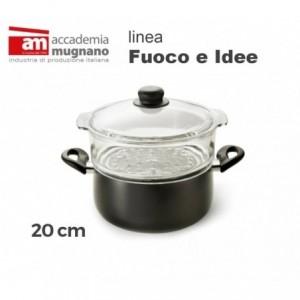 Casserole avec steamer 20cm Académie d'aluminium pur Mugnano Ligne FUOCO & IDEE
