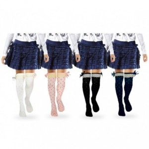 Paquet de 4 jambières motif Pois avec nœud en satin -filles et fillette 3-11 ans - Vêtements pour enfants