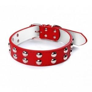 Collier en cuir martelé avec boutons ronds pour les gros chiens avec fermeture à boucle réglable