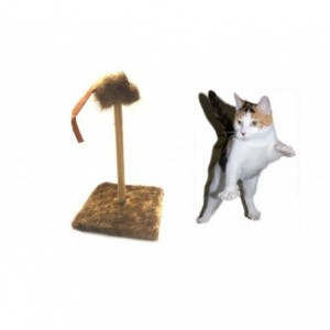 Jouet + grattoir pour chat avec la souris (30 x 30 x 35 cm)-