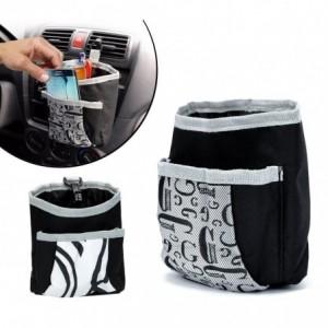72676 - Pochette rempli de plume - organisateur pour voiture 2 poches - Avec crochet porte stylo portable