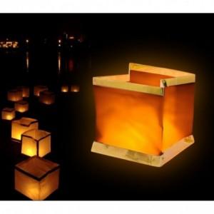 747012 Pack de 5 lanternes ciel en forme de carré (bougies inclus)
