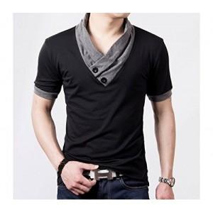 T-shirt - mod hals jersey manches couleur à contraste avec boutons - mws ahead