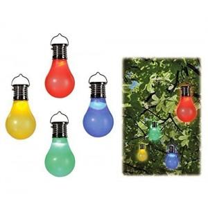 260065- Ensemble de 4 ampoules colorées avec mini crochet de panneau solaire