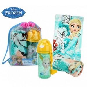 Sac de plage la Reine des Neiges comprenant une bouteille et une serviette