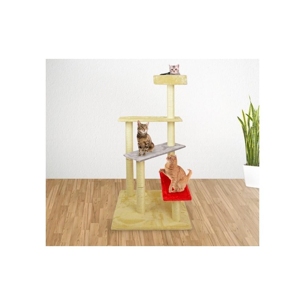 Griffoir Chat Fait Maison hk1036 gymnase pour chats a échelle avec griffoir et colonnes en sisal