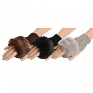 Gants sans doigt avec fourrure pour femmes